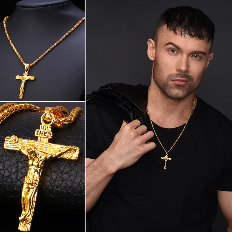 Christmas gift ideas crucifix jesus pendant stainless