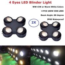 цены Cob Stage Light 4 Eyes 4X100W LED Warm White Audience Light DMX Controller LED COB Par Light For Stage Disco Light Party Wedding