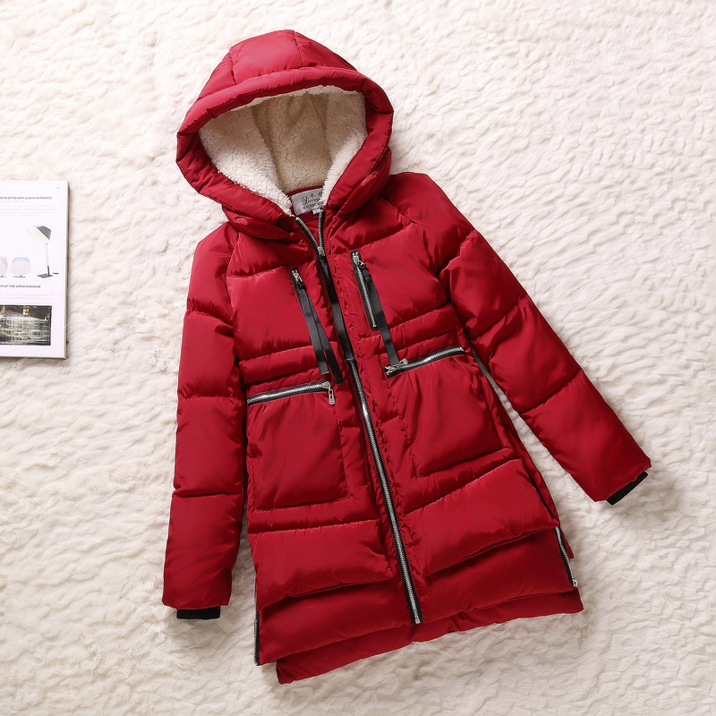ФОТО Winter Women Wadded Female Jacket Red Army Green Outerwear Plus Size Thickening Casual Down Cotton Wadded Coat Women Parkas F333