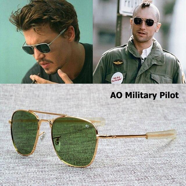 Dimshow New Fashion Army MILITARY AO Pilot 54mm Sunglasses Brand American  Optical Glass Lens Sun Glasses Oculos De Sol Masculino beb96527325