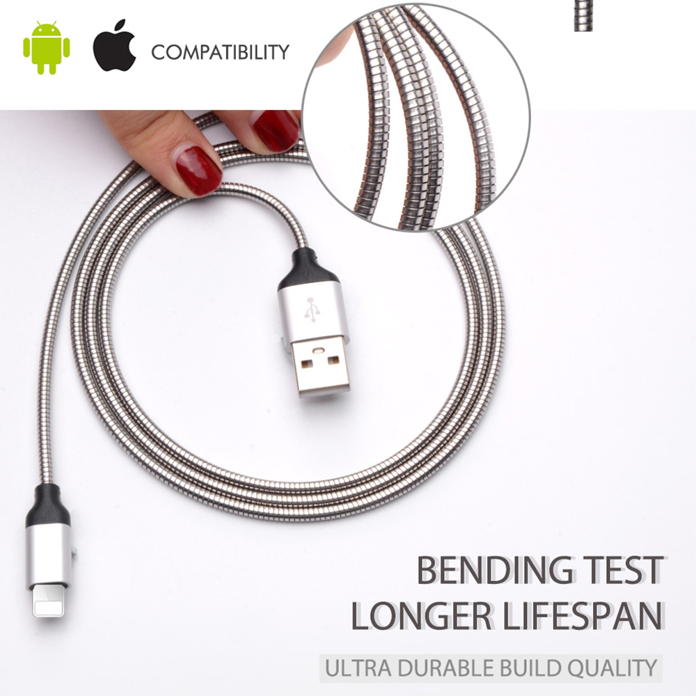 Durable Metal Jacket Lightning To USB Cable For Apple Iphone 6 7 Fast Micro USB Data