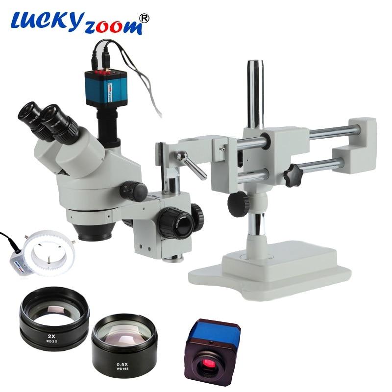 Luckyzoom 3.5X-90X Simul Brenn Doppel Galgenstativ Stereo Trinokular Mikroskop 14MP HDMI Kamera 144 stücke Led Mikroskop zubehör