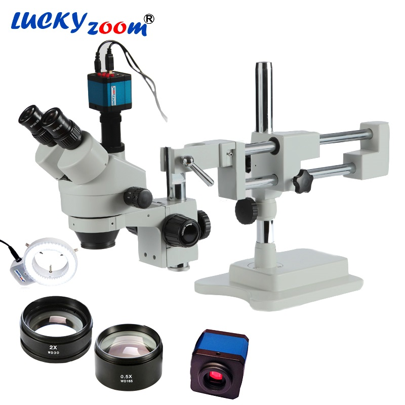 Luckyzoom 3.5X-90X Simul-Focal Double Boom Stand Stéréo Trinoculaire Microscope 14MP HDMI Caméra 144 pcs Led Microscope accessoires