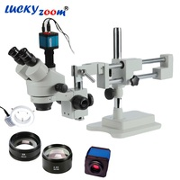 Luckyzoom 3.5X 90X Simul Focal Double Boom Stand Stereo Trinocular Microscope 14MP HDMI Camera 144pcs Led Microscope Accessories