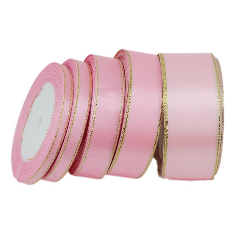 (25 ярдов/рулон) розового золота атласная лента для оторочки оптовая Рождественский подарок ленты (6/10/20/25/40 мм)