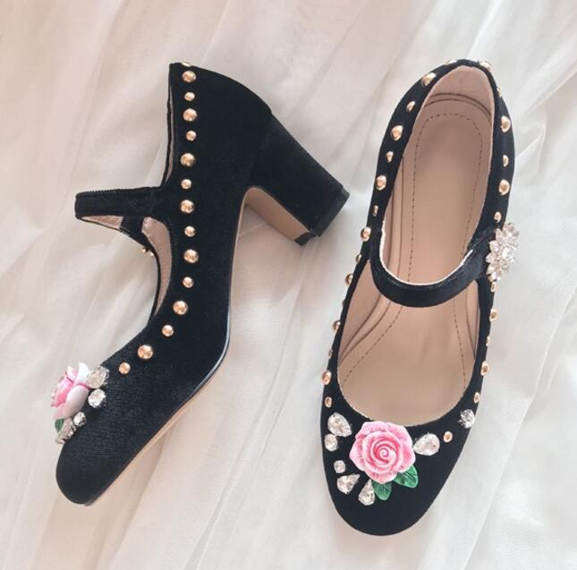 Doux Princesse Mode Fleur Chaussures Talon Talons Haute Femme Chunky Strass Rose Boucle Velours Jane Noir Mary rose w6Rq1F