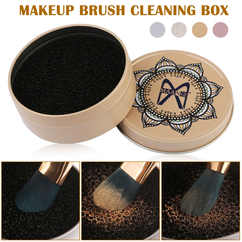 4 Styles Makeup Brush Cleaner Sponge Makeup Brushes Cleaning Mat Box Powder Brush Women Makeup Accessories