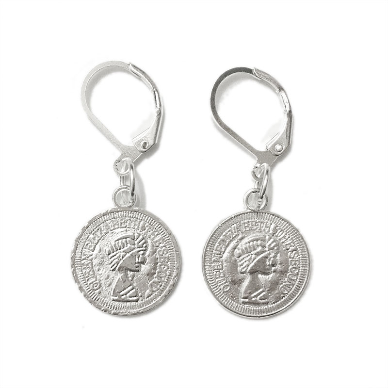 STENYA 1pair Drop Earrings Coins Queens Heads Charms Silver French Hooks Clasps Filigree Beads Buckle Toggle Pendants Brincos