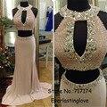 Halter decote pérola Beading recorte Chiffon de duas peças vestido de baile sereia nua desenhos