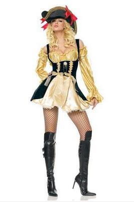Золото Карибский Пиратский Костюм Женщины Хэллоуин Костюм Пирата Платье Женский Фантазии Костюм Фантазии Косплей Ml XL