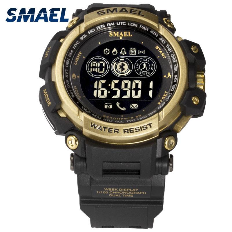 Numérique Montres Étanche SMAEL Montres Hommes Sport relogio masculino Militaire Horloge Hommes Numérique LED 8018 Smart Bluetooth Montres