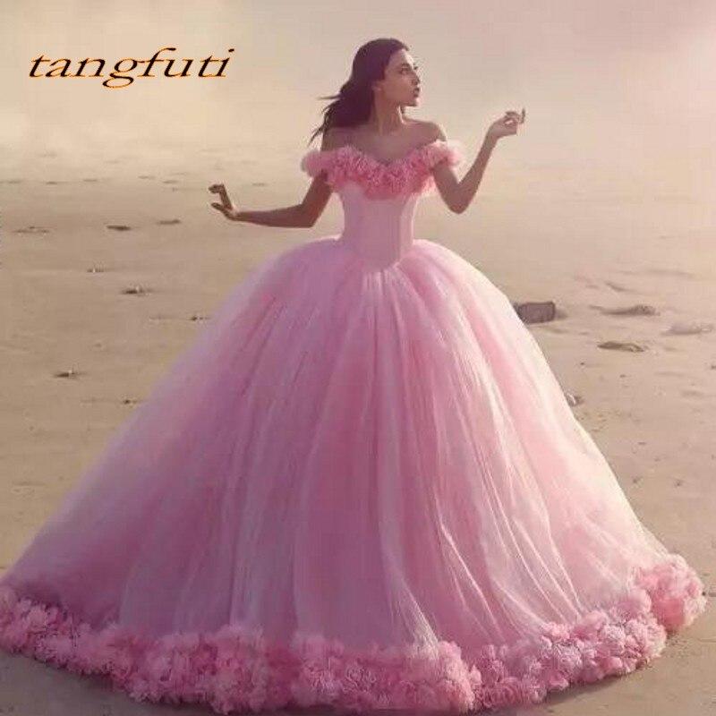 Rose Robe de Bal Princesse Robes de Quinceanera Filles Fleurs Mascarade Doux 16 Robes de Bal Robe de Soirée robes de 15 anos 2018