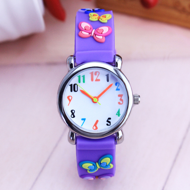 2018 children girls gifts quartz silicone strap watches 3D cartoon butterfly fas