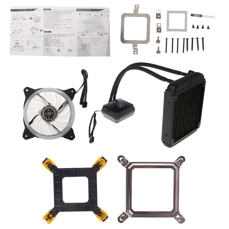 Liquid Freezer Cooling System CPU Cooler Fan Fluid Dynamic Bearing Radiator Kit compute fan cpu cooling fan blueled light freezer water liquid cooling system cpu cooler fluid dynamic bearing for computer