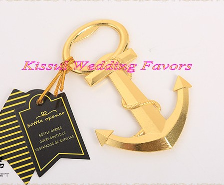 (10 Pieces lot) Nautical wedding Gifts of Gold Nautical Anchor Bottle Opener  For af660af5415f