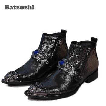 Batzuzhi Luxury Boots Men Black Leather Dress Ankle Boots Metal Pointed Toe Decoration Blue Diamond Party/Runway Short Boots Men