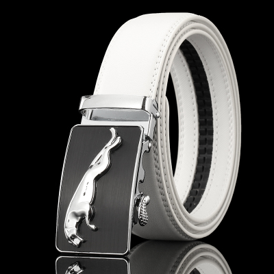 Fashion Brand Mens Luxury Automatic Buckle   Belts   White Solid Strap Male Genuine Leather Jeans Cinturones Hombre Casual Waistband