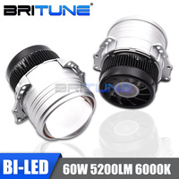 BI LED Lens I5 60W Projector Lenses LED Light Bulbs For Auto Cars Headlamp 3.0'' 6000K Hi/Lo Beam Kit Tuning Accessories Style
