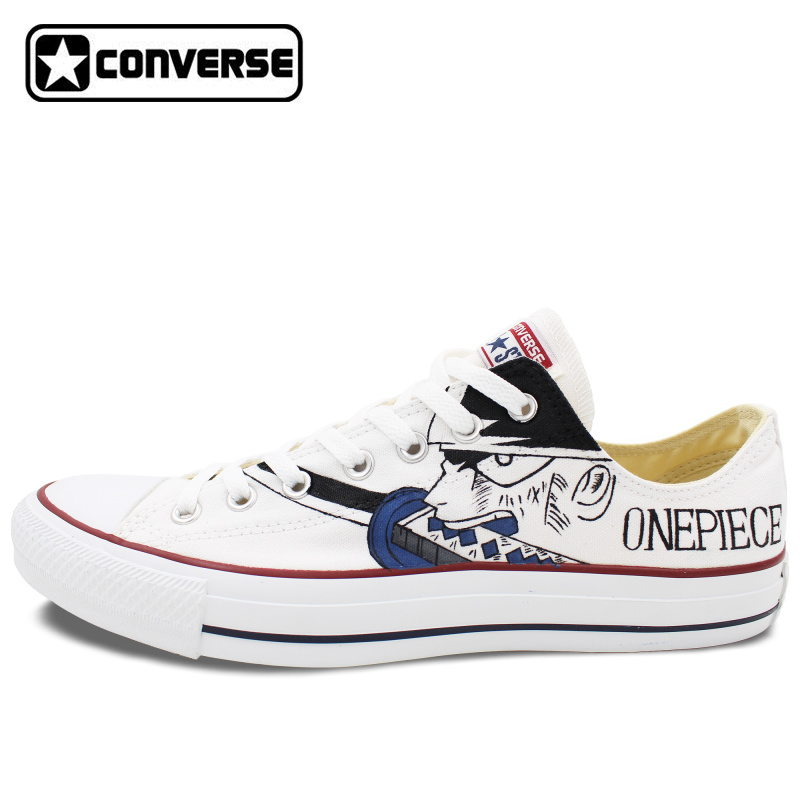Prix pour Low Top Converse All Star Femmes Hommes Chaussures Anime One Piece Luffy Zoro Design Peint À La Main Chaussures Femme Homme Sneakers Cosplay Cadeaux