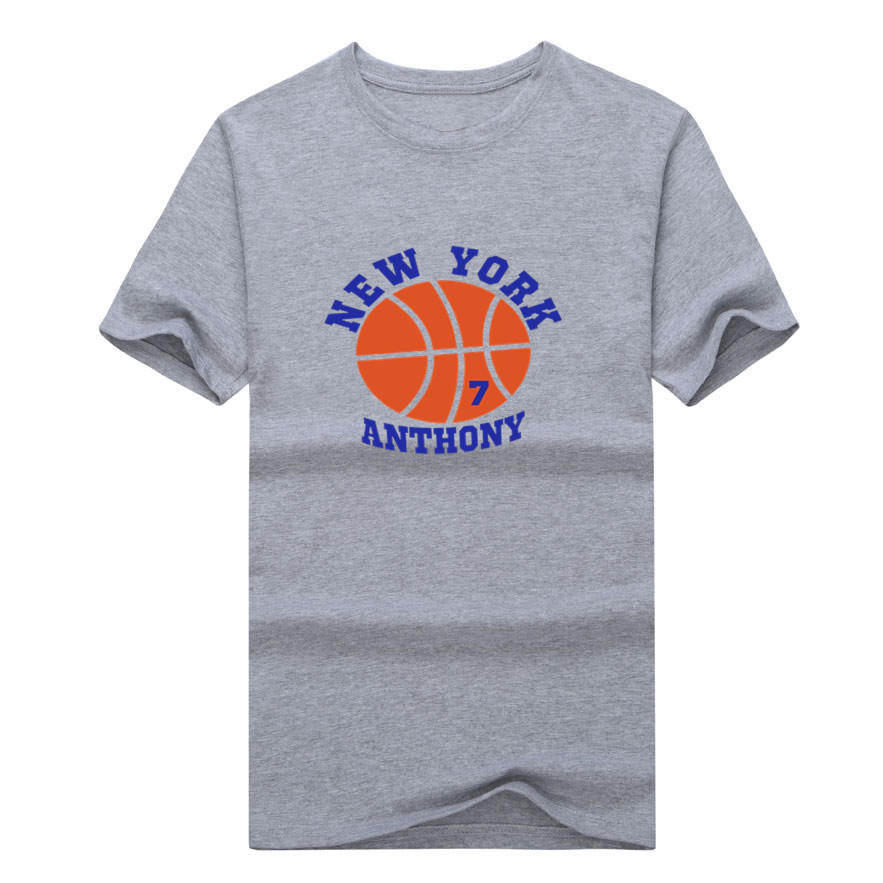 2017 New Knicks Carmelo Anthony 7 T-shirt 100% cotton short sleeve fashion cool printed o-neck T shirt 0113-1