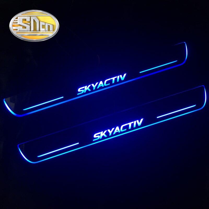 SNCN 4 pièces acrylique mobile LED bienvenue pédale voiture plaque de seuil de porte pédale voie de seuil lumière pour Mazda 6 2015 2016 2017 2018