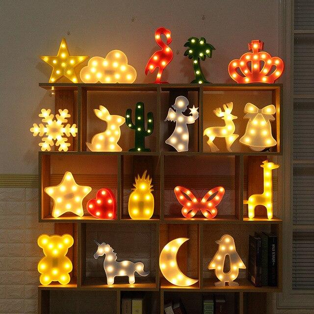 Novelty 3D Night Light Unicorn Marquee Flamingo Table LED Lamp Love Children Star Moon Luminaria Bear Cloud Cactus Decor Letter