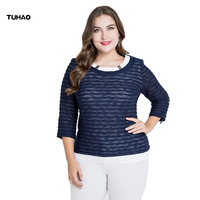 TUHAO 2018 SPRING Large Size Women Blouses FALSE TWO PIECE Top Woman S Blouses OFFICE LADY