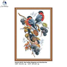 Joy Sunday Red bellies Magpies and blackberries Pattern Cross Stitch Kits 11CT Printed Fabric 14CT Canvas DMC NKF Embroidery