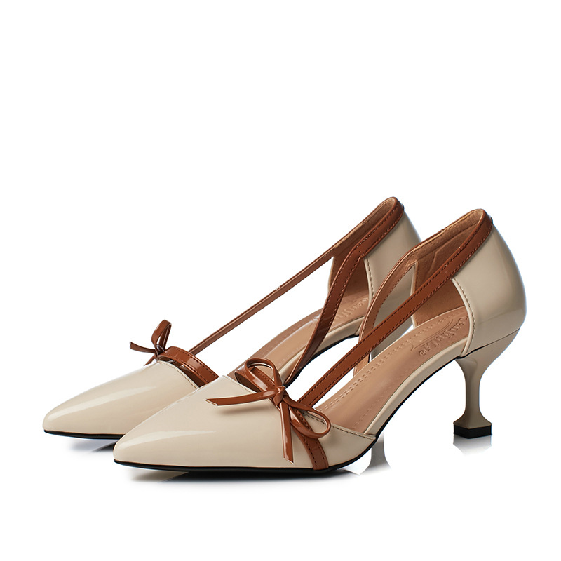 Dance Shoes Pumps Coloured Bow Tie Hollow Single Shoe Woman Female Wummer Pointed Shoes Sandals Ball Women Shoes Formal