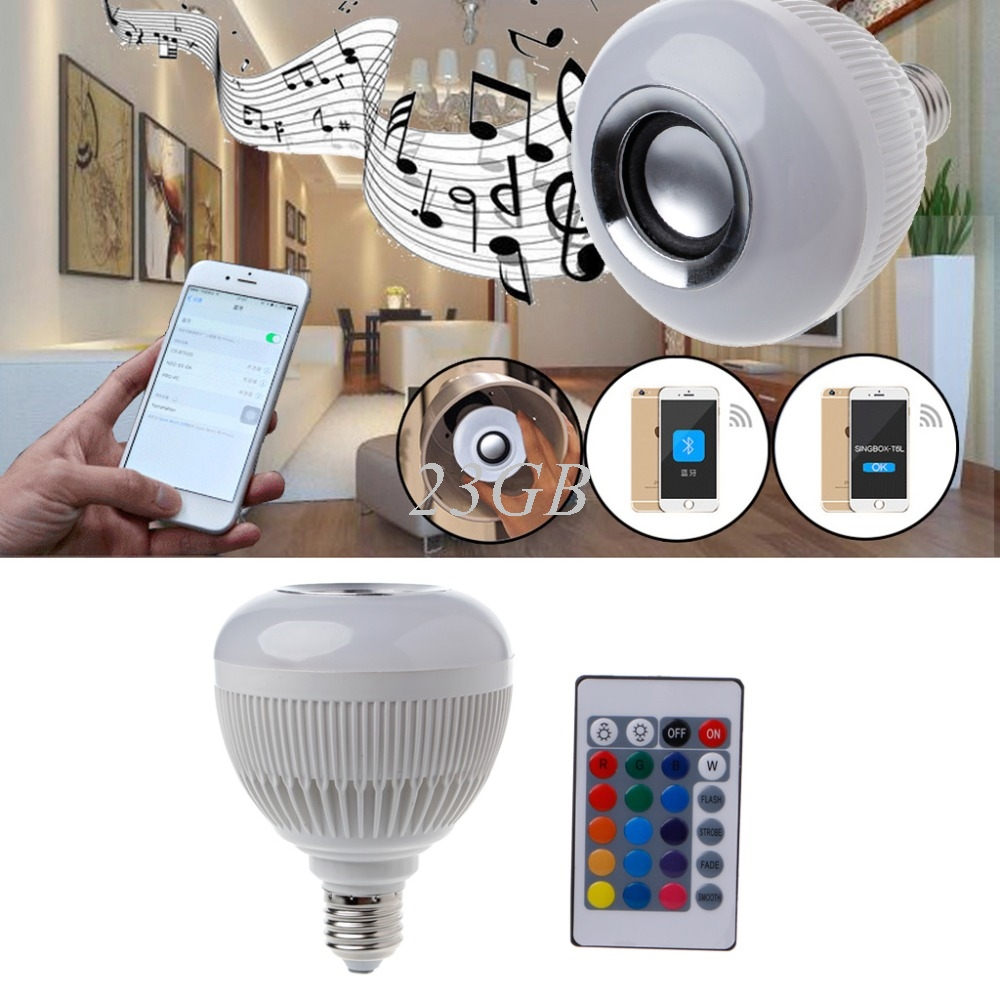 12W E27 LED RGB Wireless Bluetooth Speaker Bulb Light Music Playing Lamp +Remote Dimmable Lamps O06 led rgb bulb lamp app remote control e27 speaker bluetooth 4 0 music led night light