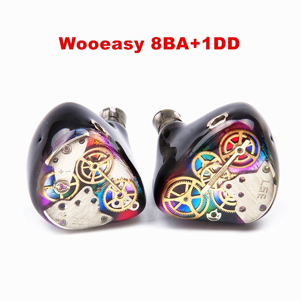 2017 Wooeasy 8BA+1DD In Ear Earphone Drive Unit DIY HIFI Custom Made Monitoring Earphone With MMCX Interface hangrui xba 6in1 1dd 2ba earphone hybrid 3 drive unit in ear headset diy dj hifi earphones with mmcx interface earbud for phones