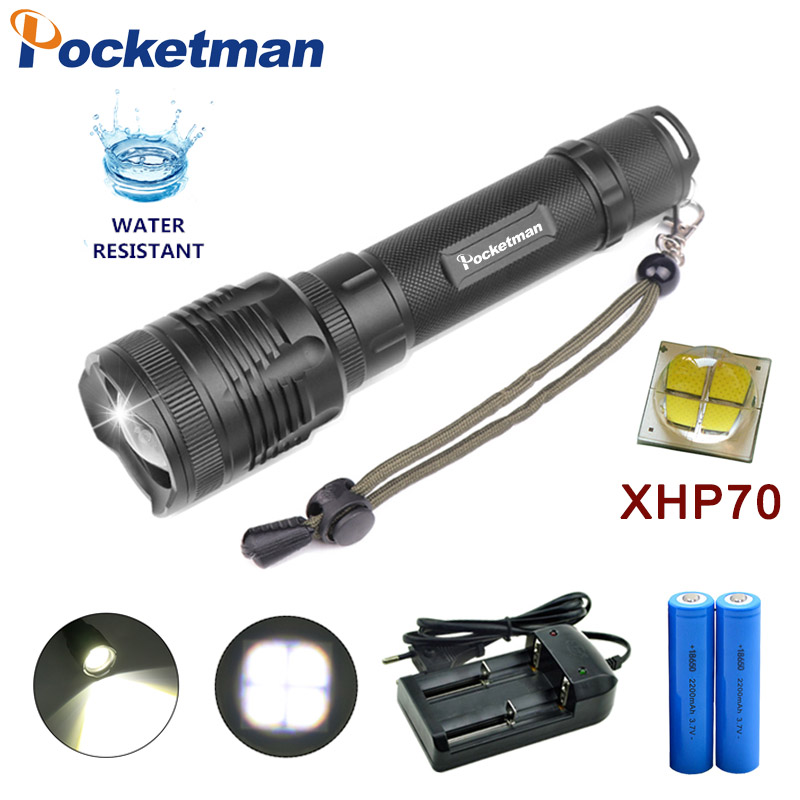 2019 New 40000LM XHP70 LED flashlight powerful Tactical Torch Zoomable Lantern power by 18650 battery z30