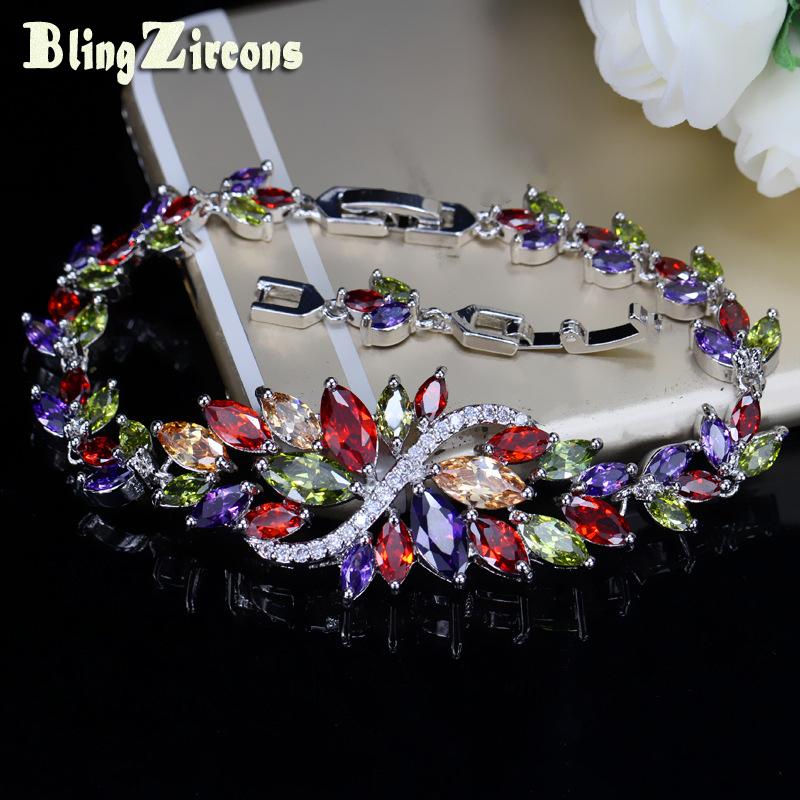 BlingZircons Sterling Silver 925 Summer Cute Crystal Jewelry Big Flower Cluster Colorful CZ Stone ձեռնաշղթա կանանց համար B055