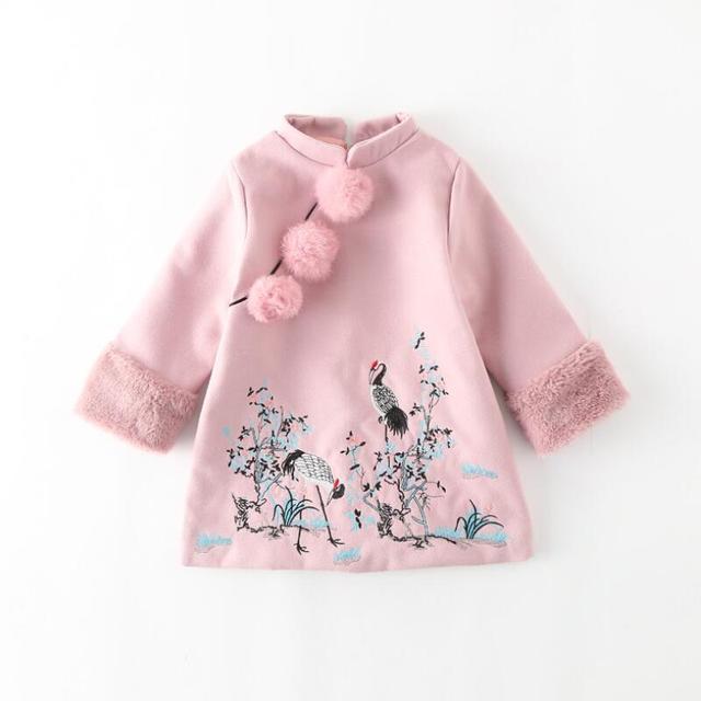 Christmas Dress Winter Warm Thicken Embroidery Print Fur Girl