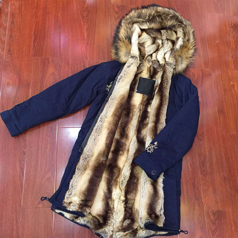 Dark blue snake beading winter long coat natural faux fur inside with raccoon fur collar women parka