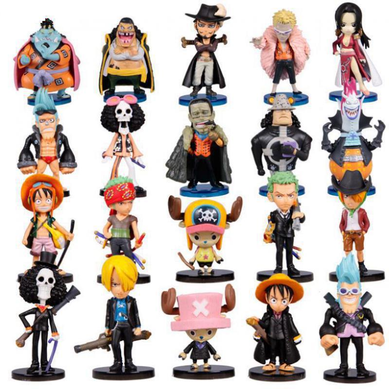 Anime One Piece Figures Q Version Luffy Zoro Chopper PVC Action Figure Toys Model Collection Japan Animation 20pcs/set black leg sanji japan anime one piece action figure fire battle version 16cm pvc model toy with box collection doll toys f2722