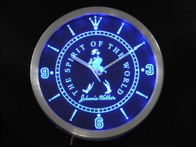 nc0125 Johnnie Walker Whisky Neon Light Signs LED Wall Clock