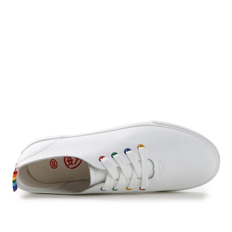 Cuero Zapatos Mujer Ocasionales Verano Las white De Blanco 2018 Planos Cordón Mujeres Black Para Señoras Primavera Nuevas XYHA6