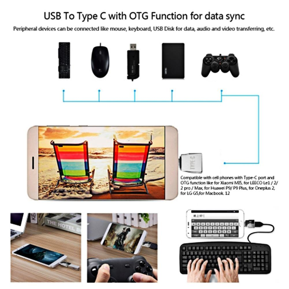 New Portable Mini USB-C Type-C to Micro USB Adapter Convert Type-C to USB  3 1 Connector Adapter with Keychain For MacBook Phones