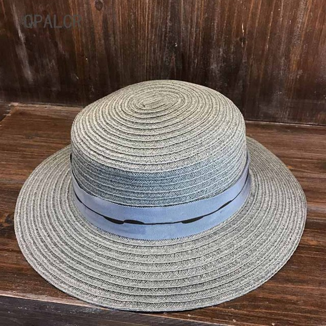 94c1f88ffa1 QPALCR 2018 New Womens Flat Top Straw Hat Summer Ladys Taiwan Hemp Sun Hat  High Quality