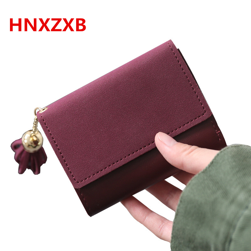 HNXZXB Fashion Women Hasp Tassels Short Wallets Female PU Coin Purse Girl Multifunction Money Bag Simple Students Card Bag fashion wallet women simple short wallets hasp coin purse credit card holders handbag carteira feminina portefeuille femme