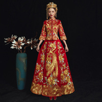 Vintage Phoenix Cheongsam Vestidos Chinese Ancient Women Traditional Qipao Noble Female Wedding Dress Elegant Evening Gowns