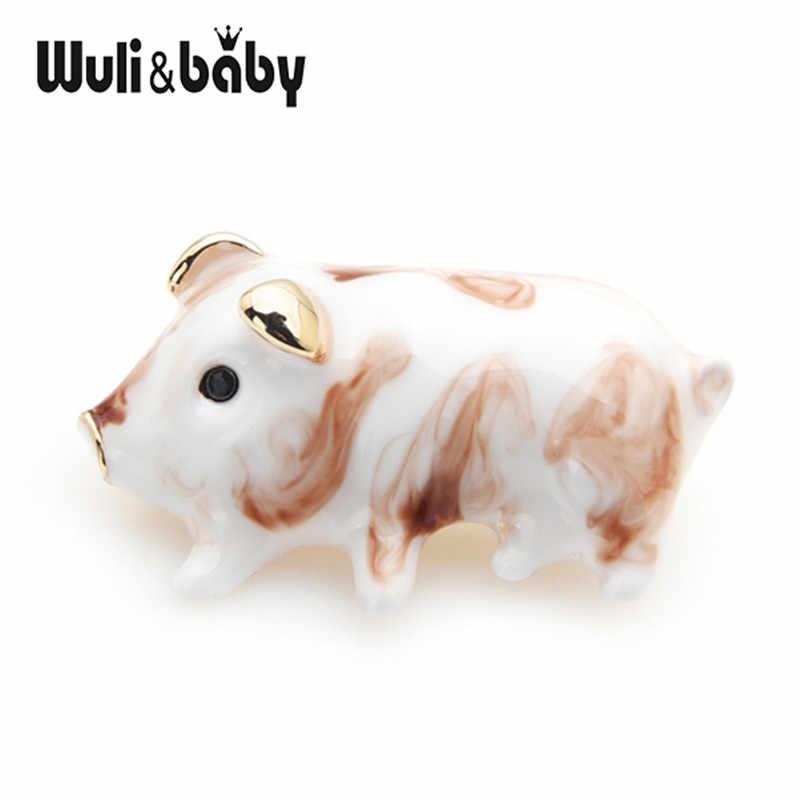 Wuli e del bambino del Fiore di Colore Marrone Bianco Pig Spille Per Le Donne E Gli Uomini Della Lega Piccolo Animale Spilla Spilli del Nuovo Anno regali