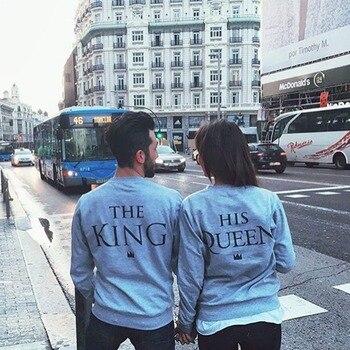 1 PC King & Queen Pasangan Huruf Cetak Pasangan Atasan B Kaos Couple Sweater Abu-abu Muda