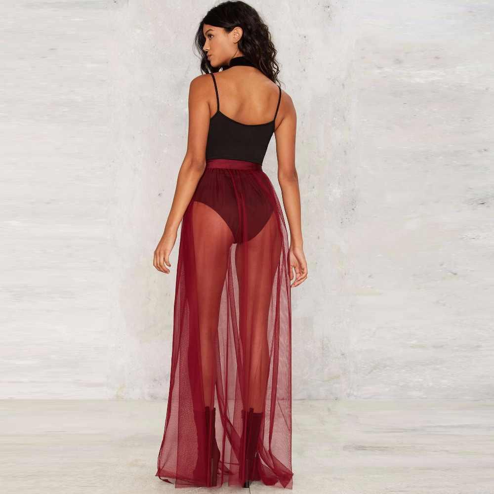 2eb9d8d52 ... Burgundy Wine Red Tulle Skirt Ribbons Waistline A Line Floor Length Long  Maxi Skirt Sheer Transparent ...