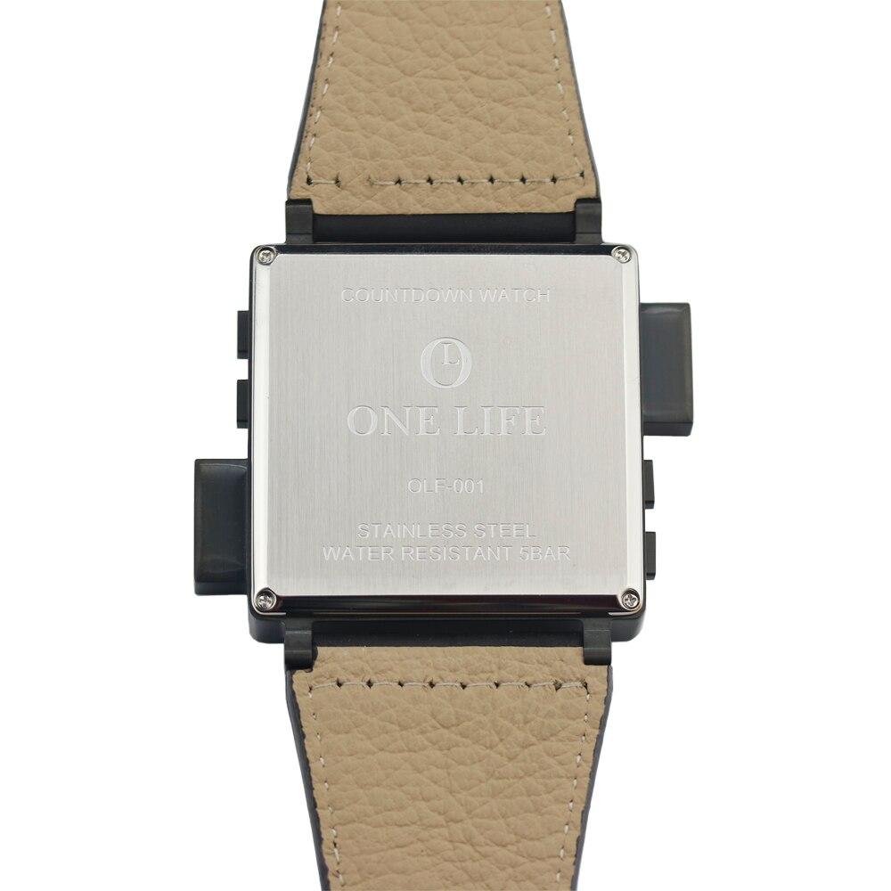 Lendemo ONE LIFE Series Top Man cible compte à rebours numérique heures horloge LED noir 316 T acier cuir de veau montre limitée Original - 6