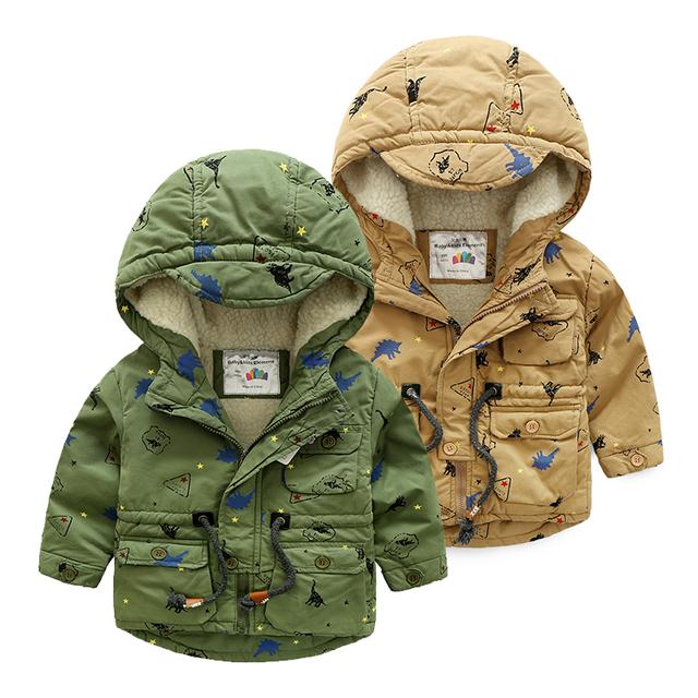 Bebé de algodón acolchado chaqueta de 2016 del invierno del niño de dibujos animados, además de terciopelo zanja engrosamiento ropa de abrigo niños niños chaqueta de la capa