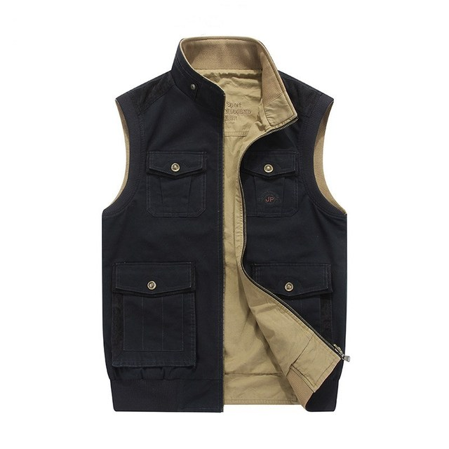 Plus Size M-8XL Loose Men Vest with many pockets Denim Design colete masculino tactical 100% Cotton Military Brand AFSJEEP
