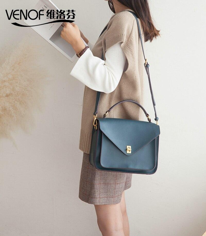 VENOF luxury handbags women bags designer split leather messenger bags elegant ladies shoulder bag crossbody bag for women 2018