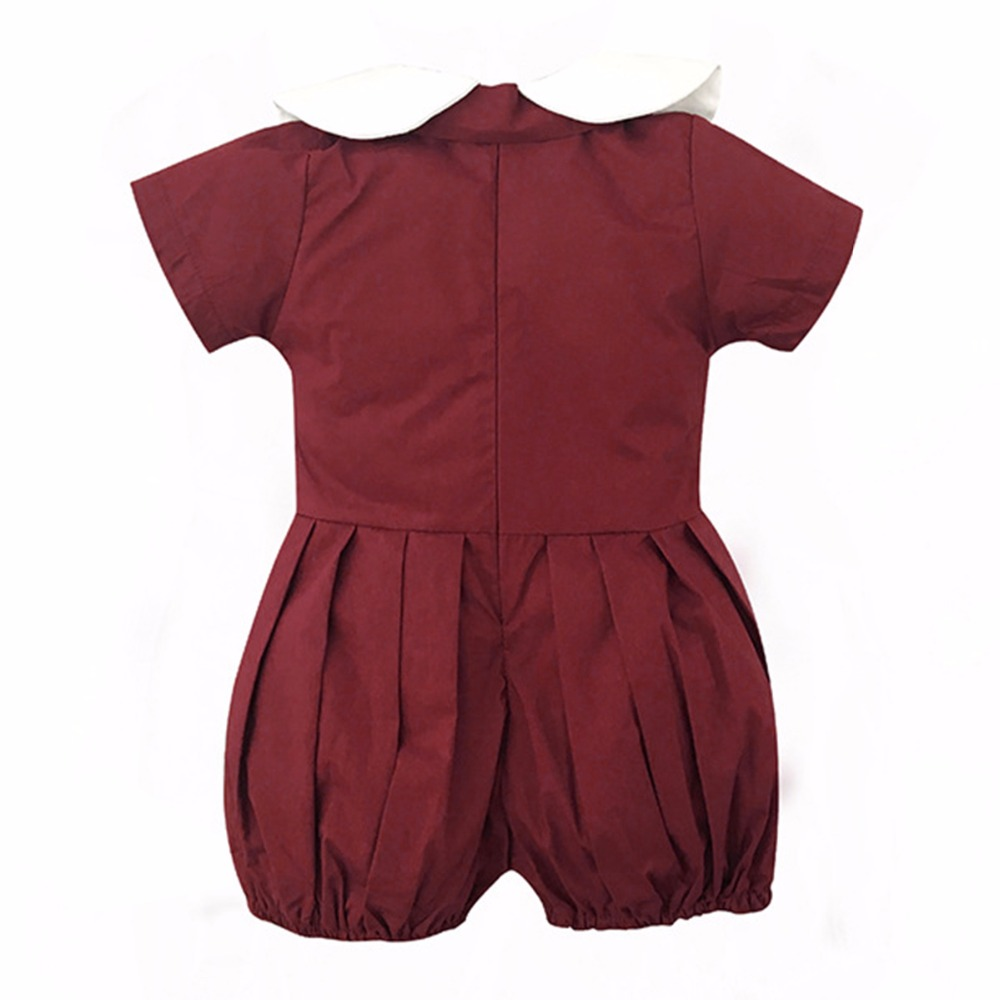 e57917019096 Toddler Kids Baby Girl Clothes Short Sleeves Romper wine red solid Zipper  cotton Jumpsuit peter pan collar Bow Romper one pieces-in Rompers from  Mother ...